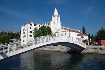 Church of the Blessed Virgin Mary and the bridge in Crikvenica