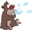 Bear cub and soap bubbles. Cartoon