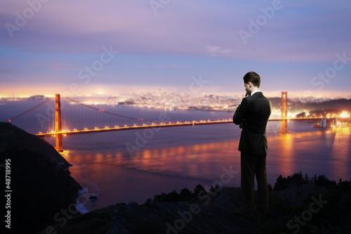 man looking city