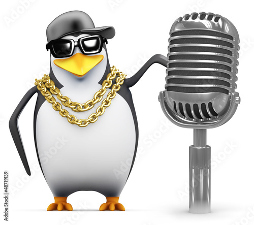 Penguin rapper uses a retro microphone