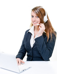 Smiling attractive woman on line in help desk