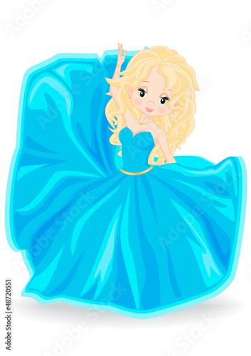 Foto op Aluminium Kasteel blonde girl in blue evening dress