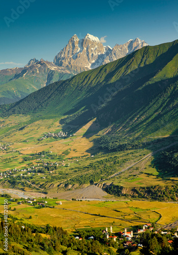 Old village in country between mountains. Upper Svaneti region,