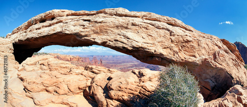 panoramic view of famous Mesa Arch