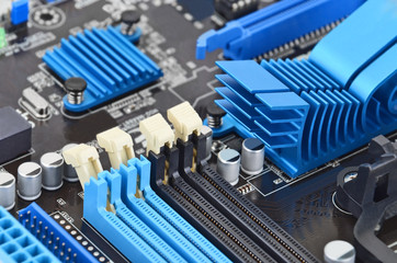 Printed computer motherboard board RAM connector slot