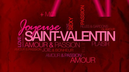 Joyeuse Saint-Valentin carte vidéo nuage de mots animation