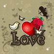 Love heart and bird
