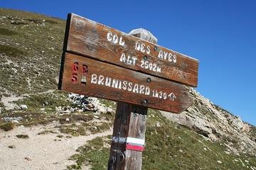 GR5 - Panneau de Randonnée - Col des Ayes - Brunissard