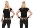 Blond woman posing with blank black shirt