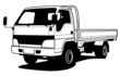 Delivery light truck hand draw illustration, vector
