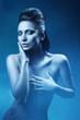 sexy woman in dark blue shower