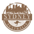Stamp with the name of Sydney, Australia written inside, vector