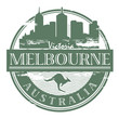 Stamp with the name of Melbourne, Australia written inside