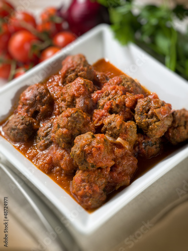 meatballs with tomato sauce, selective focus