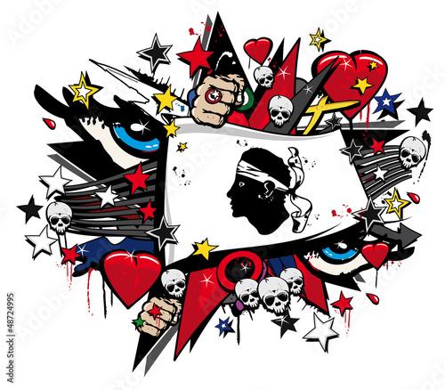 Drapeau Corse graffiti corsica flag street art illustration