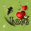 Love heart and decorations vintage green background