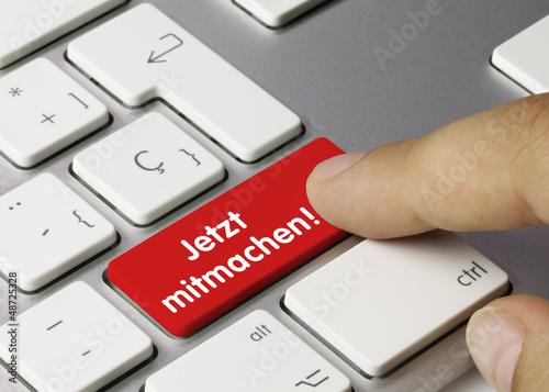 Leinwanddruck Bild Jetzt mitmachen! Tastatur. Finger