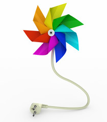 multicolor pinwheel on energy plug cable