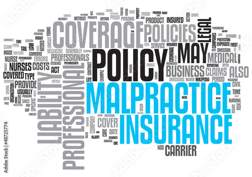 Malpractice Insurance Design Word Cloud on White Background
