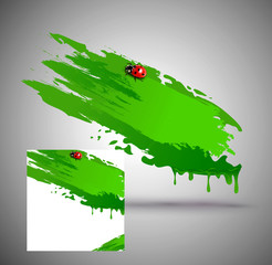 vector element for design, in the form of green paint smear and
