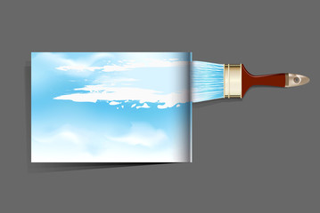 vector background / brochure with a brush which draws the sky