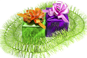 Green and violet gift with a tinsel