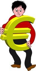 mann trägt euro