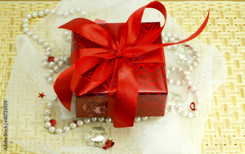 Hearts, stones, cloth and woven wood gift