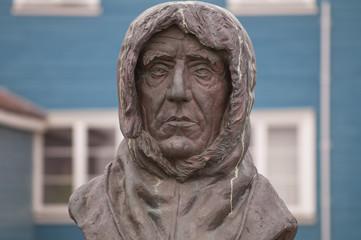 Roald Amundsen Statue in Ny Alesund Svalbard Spitzbergen