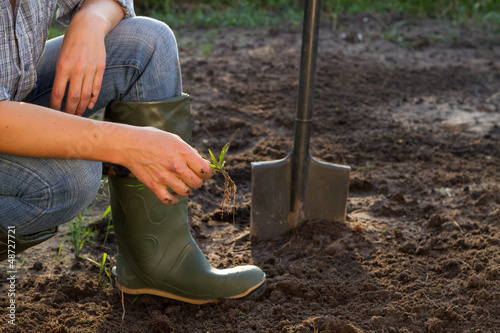 Weeding of kitchen garden in green boots, close-up