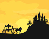 Carriage at sunset. Silhouette of a horse carriage and a medieva