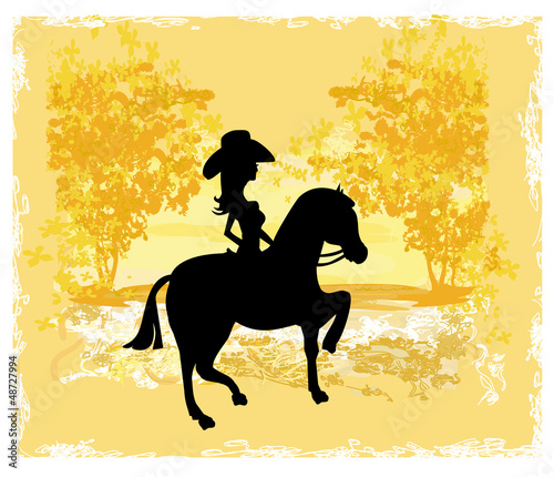 Silhouette of Cowgirl and Horse - grunge background