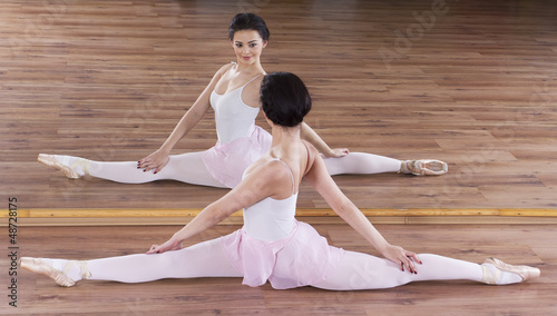 Graceful ballerina in gym training