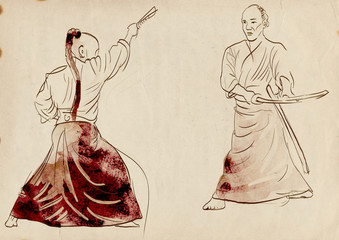 Aikido, Japanese martial art. (Original, hand drawing.)