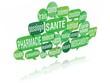 nuage de mots bulles 3d : santé pharmacie