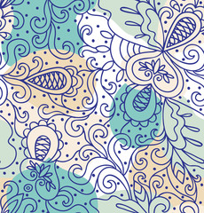 Seamless abstract hand-drawn blue pattern