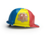 Andorran flag on construction helmet