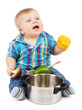 Little boy with pan and vegetables, isolated on white