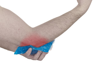 Cool gel pack on a swollen hurting elbow.