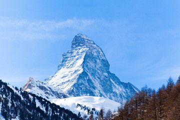Matterhorn mountain of zermatt switzerland. Winter in swiss alps