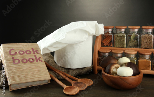 Composition with chef's hat and kitchenwear
