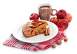 slice of tasty homemade pie with apples and cup of coffee,
