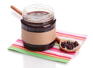 tasty berry jam, isolated on white