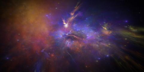 illustration einer neuen galaxy mit nebel und Emissionsnebe