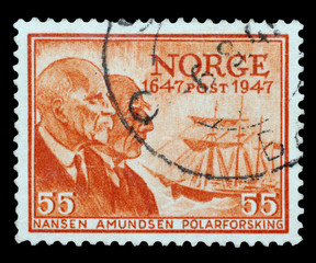NORWAY, CIRCA 1947 - Stamp with images of Nansen and Amundsen