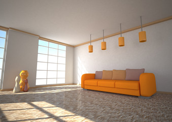Sunlight Room Orange Couch