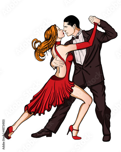 A couple dancing tango isolated