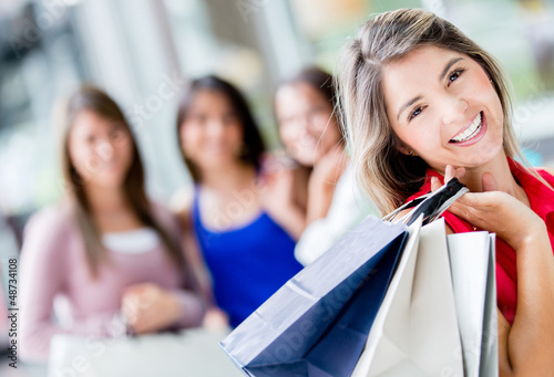 Shopping woman with friends
