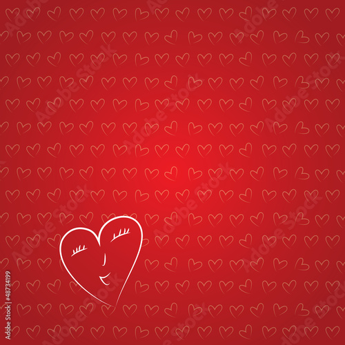 Vector Valentine's background. A line of hearts.