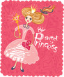 Cute card with a little girl dressed as a princess.